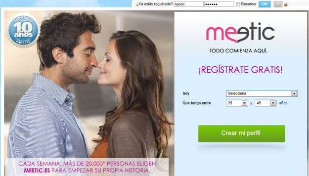 Registrate en Meetic